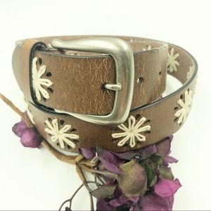 Target | Brown Leather Floral Belt